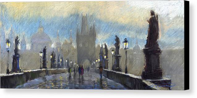Pastel Canvas Print featuring the pastel Prague Charles Bridge 06 by Yuriy Shevchuk