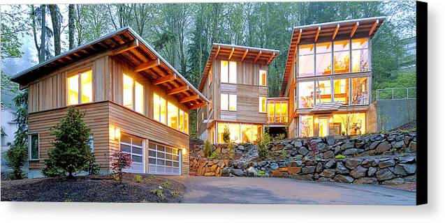 Architecture Canvas Print featuring the photograph Modern Home In Woods by Will Austin