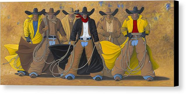 Large Cowboy Painting Of Six Cowboys. Canvas Print featuring the painting The Posse by Lance Headlee