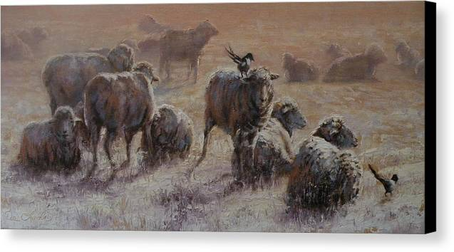 Sheep Canvas Print featuring the painting Frosty Morning by Mia DeLode