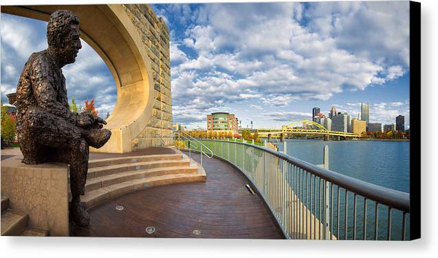 Steelers Canvas Print featuring the photograph Mr Rogers Statue In Pittsburgh by Emmanuel Panagiotakis
