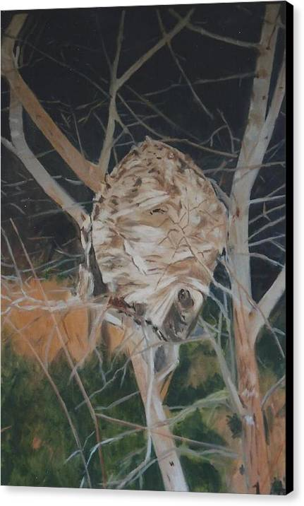 Hornets Canvas Print featuring the painting Hornet's Nest by Terry Forrest