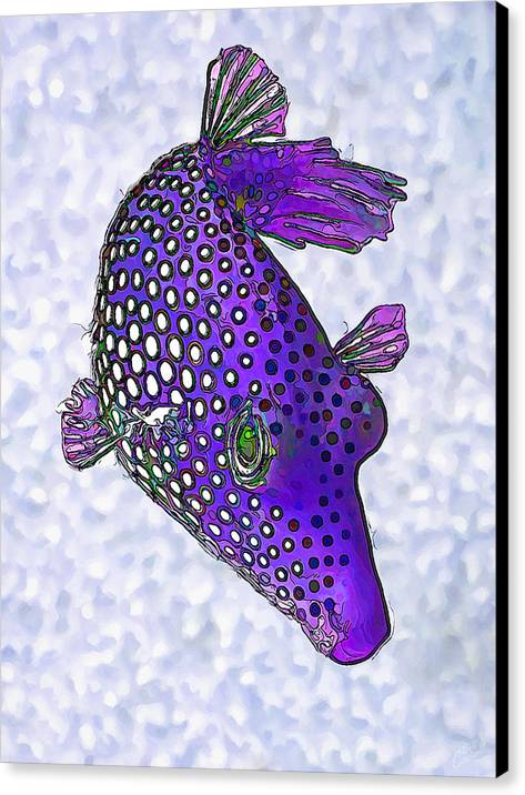 Nature Canvas Print featuring the digital art Guinea Fowl Puffer Fish In Purple by Bill Caldwell -    ABeautifulSky Photography