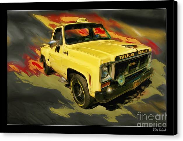 Trucks Canvas Print featuring the photograph Taxicab Repair 1974 Gmc by Blake Richards