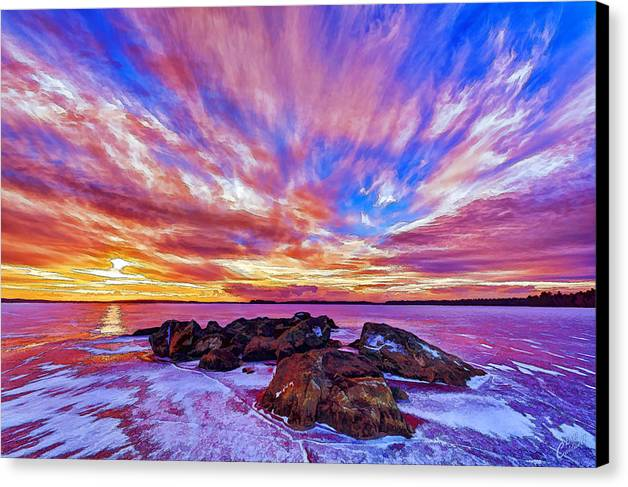 Nature Canvas Print featuring the photograph Salmon Sunrise by Bill Caldwell -    ABeautifulSky Photography