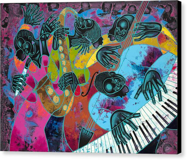 Figurative Canvas Print featuring the painting Jazz On Ogontz Ave. by Larry Poncho Brown