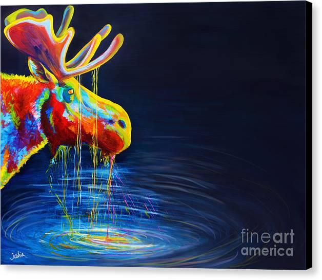 Moose Canvas Print featuring the painting Moose Drool  by Teshia Art