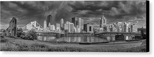 Pittsburgh Canvas Print featuring the photograph Brooding Above The Burgh by Jennifer Grover
