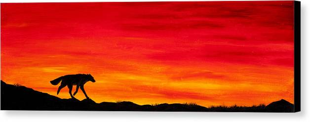 Wolf Canine Dog Fox Coyote Sunset Sundown Dusk Home Silhouette Red Sky Clouds Canvas Print featuring the painting Journey Home by Beth Davies