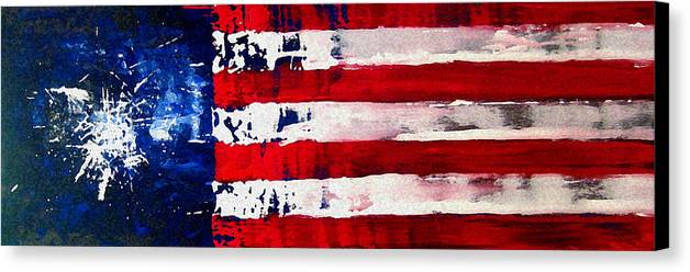 Flag Canvas Print featuring the painting Patriot's Theme by Charles Jos Biviano