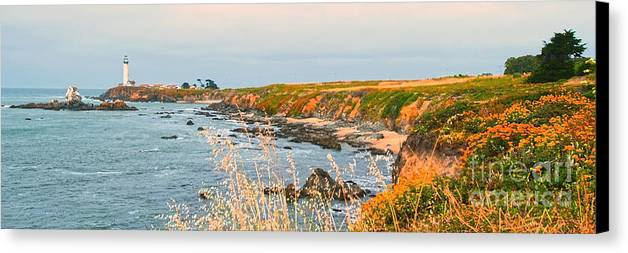 Lighthouse Canvas Print featuring the painting Lighthouse In Summer by Artist and Photographer Laura Wrede