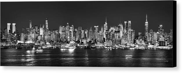 New York City Skyline At Night Canvas Print featuring the photograph New York City Nyc Skyline Midtown Manhattan At Night Black And White by Jon Holiday