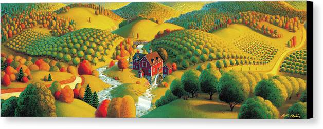 Fall Panorama Canvas Print featuring the painting The Cider Mill by Robin Moline