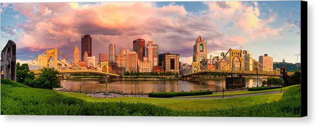 Pittsburgh Canvas Print featuring the photograph Break Open The Skies by Jennifer Grover