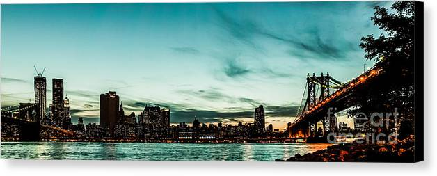 Manhatten Canvas Print featuring the photograph New Yorks Skyline At Night Ice 1 by Hannes Cmarits