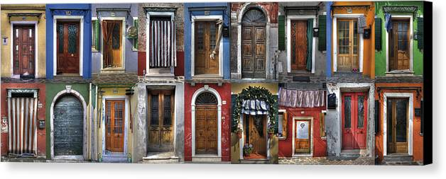 Travel Canvas Print featuring the photograph doors and windows of Burano - Venice by Joana Kruse