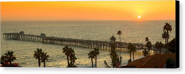 San Clemente Canvas Print featuring the photograph On Golden Pier by Gary Zuercher