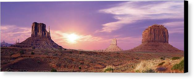 American Canvas Print featuring the photograph Sunset Over Mountain Valley by Aged Pixel