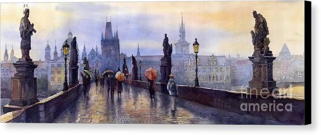 Cityscape Canvas Print featuring the painting Prague Charles Bridge by Yuriy Shevchuk