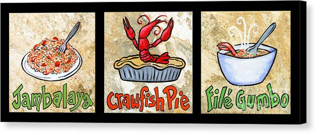 Jambalaya Canvas Print featuring the painting Cajun Food Trio by Elaine Hodges