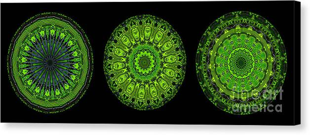 Abstract Canvas Print featuring the digital art Kaleidoscope Triptych Of Glowing Circuit Boards by Amy Cicconi