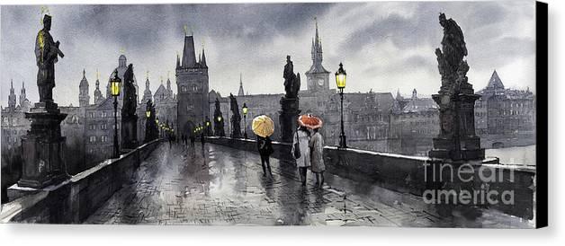 Prague Canvas Print featuring the painting Bw Prague Charles Bridge 05 by Yuriy Shevchuk
