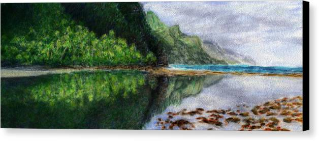 Rainbow Colors Pastel Canvas Print featuring the painting Ke'e by Kenneth Grzesik