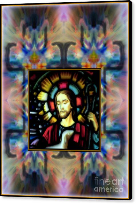 Good Shepherd By Wbk Canvas Print featuring the painting Good Shepherd by Wbk