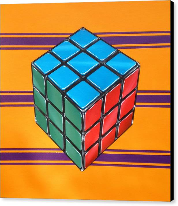 Rubiks Cube Canvas Print featuring the painting Rubiks by Anthony Mezza
