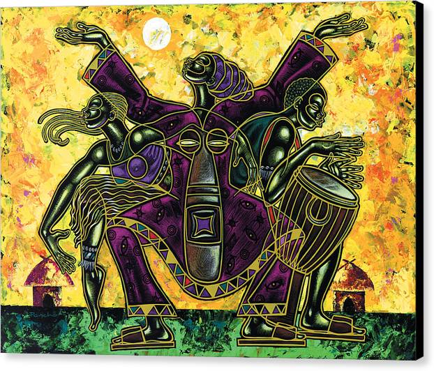 Figurative Canvas Print featuring the painting To The Beat Of The Drum by Larry Poncho Brown