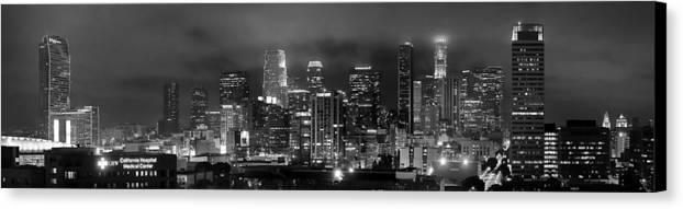 Los Angeles Skyline Canvas Print featuring the photograph Gotham City - Los Angeles Skyline Downtown At Night by Jon Holiday