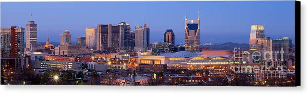 Nashville Canvas Print featuring the photograph Nashville Skyline At Dusk Panorama Color by Jon Holiday