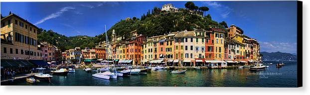 Port Canvas Print featuring the photograph Panorama Of Portofino Harbour Italian Riviera by David Smith