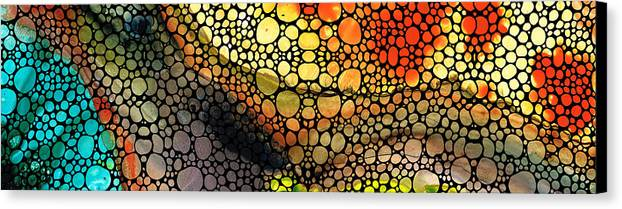 Stones Canvas Print featuring the painting Bridging The Gap - Stone Rock'd Art Print by Sharon Cummings