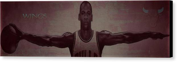 Professional Basketball Player Canvas Print featuring the mixed media Wings by Brian Reaves