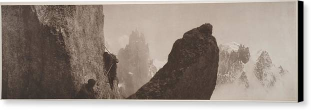 Photography Canvas Print featuring the photograph Early Mountaineering In The Alps by Georges Tairraz