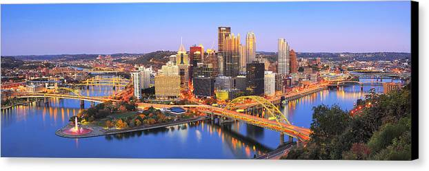 Steelers Canvas Print featuring the photograph Pittsburgh Pano 22 by Emmanuel Panagiotakis