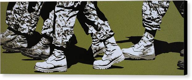 Army Canvas Print featuring the painting Marchers Of Doom by Tai Taeoalii