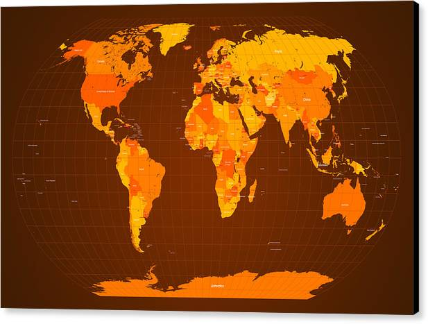 Map Of The World Canvas Print featuring the digital art World Map Fall Colours by Michael Tompsett