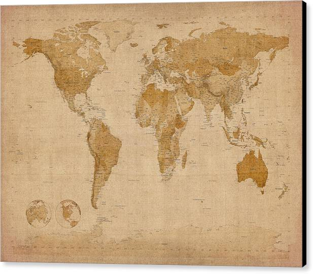World Map Canvas Print featuring the digital art World Map Antique Style by Michael Tompsett