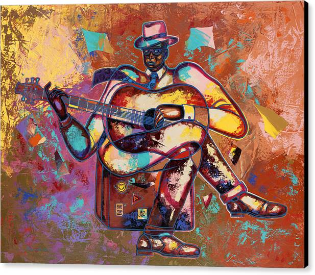 Figurative Canvas Print featuring the painting Nothin' But Da Blues by Larry Poncho Brown