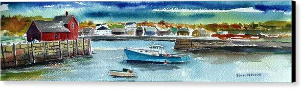 Rockport Canvas Print featuring the painting Rockport Harbor by Scott Nelson