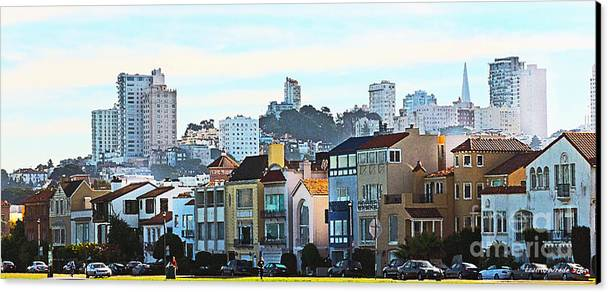 Fort Mason San Francisco Ca Canvas Print featuring the painting Sunday At Marina Green Park Fort Mason San Francisco Ca by Artist and Photographer Laura Wrede