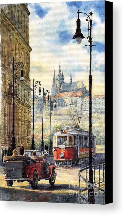 Architecture Canvas Print featuring the painting Prague Kaprova Street by Yuriy Shevchuk