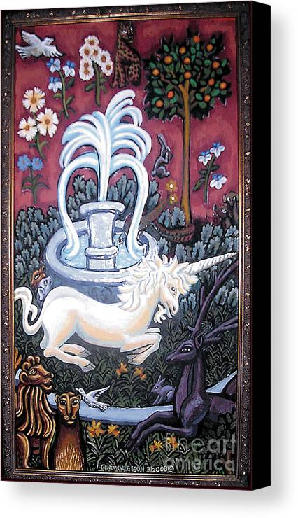 Unicorn Tapestries Canvas Print featuring the painting The Unicorn And Garden by Genevieve Esson