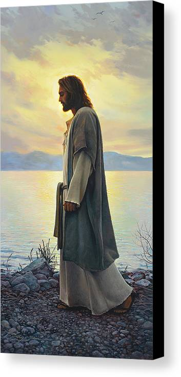 Jesus Canvas Print featuring the painting Walk With Me by Greg Olsen