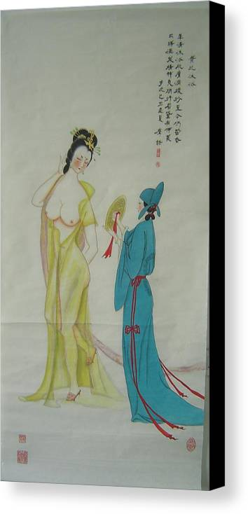 High-ranked Canvas Print featuring the painting Tr 024 High-ranked Imperial Concubine Come Out Bath by Mojie Wang