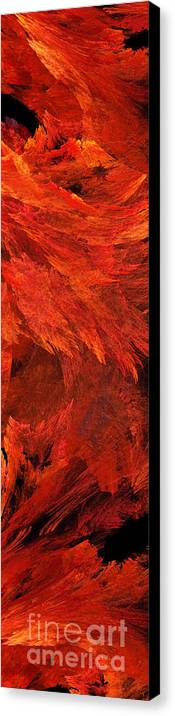 Abstract Canvas Print featuring the digital art Autumn Fire Pano 2 Vertical by Andee Design