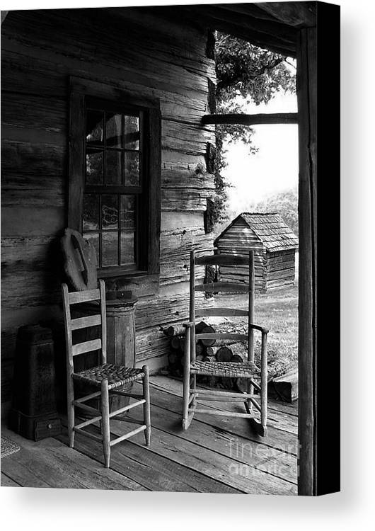 Log Cabins Canvas Print featuring the photograph His And Hers by Julie Dant