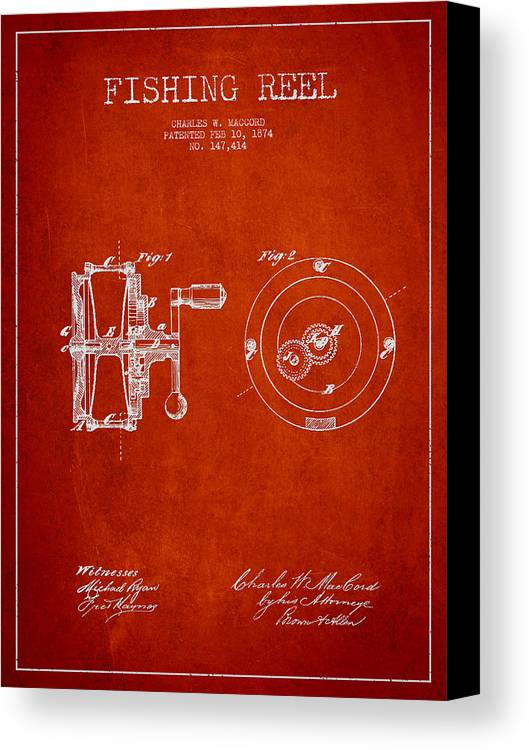 Fishing Reel Canvas Print featuring the drawing Fishing Reel Patent From 1874 by Aged Pixel